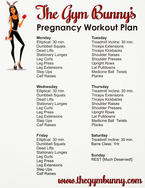 The Gym Bunny: Pregnancy Weekly Workout Plan