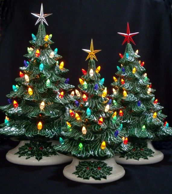 old fashioned ceramic christmas tree 3 tree collection - 3 Christmas Tree