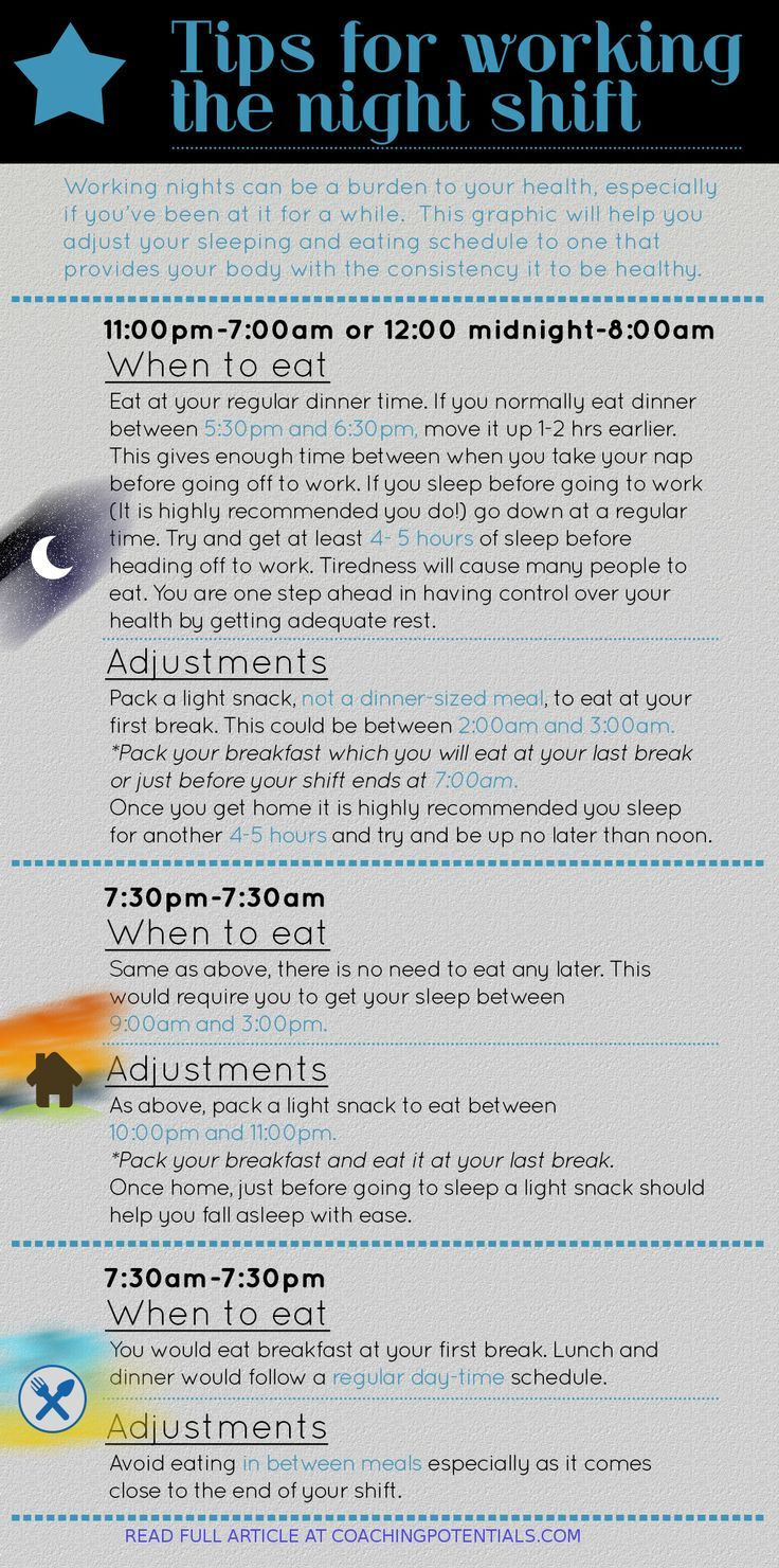 Night Shift Health Tips [INFOGRAPHIC] from http://coachingpotentials.com/2015/03/25/5-tips-to-increase-work-performance/ #infographics