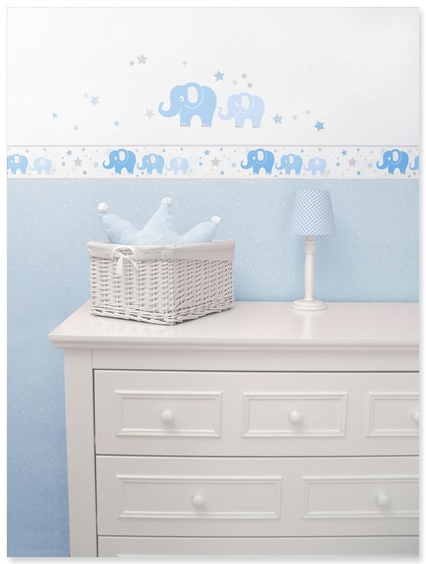 Elefanten Boys blau/grau: Selbstklebende Bordüre, Wandsticker und passende Punktetapete in hellblau/weiß
