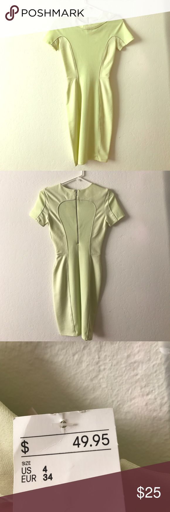 Brand new body hugging neon green dress from H&M! Body hugging neon green mid-length dress! Great for parties or even work!  Materials: viscose, polyester, polyamide, elastane, metallised fibre. H&M sizing tends to run small. H&M Dresses Midi