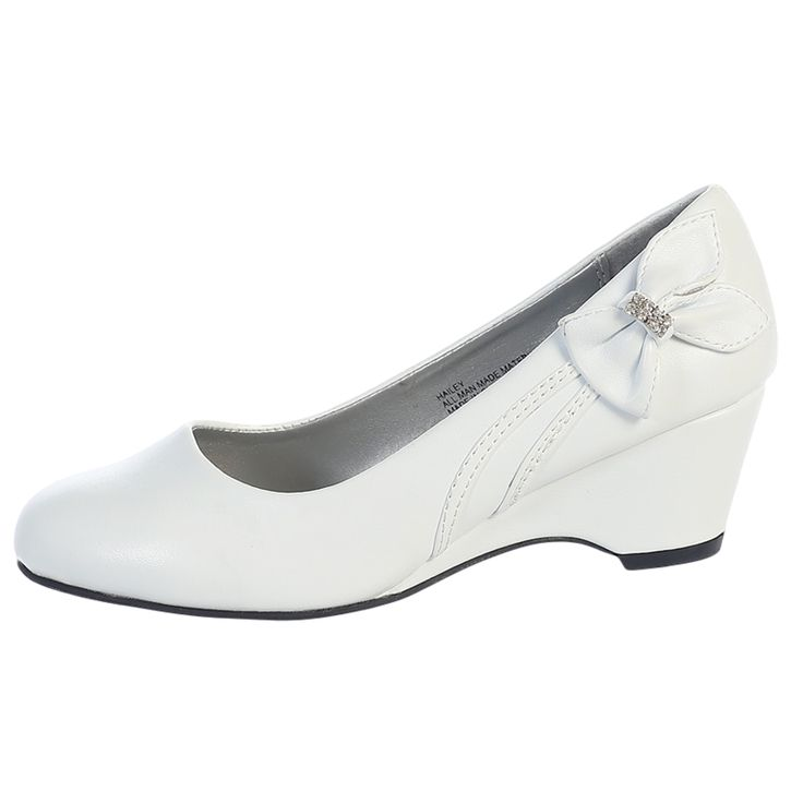 White Wedges With Bow On Side
