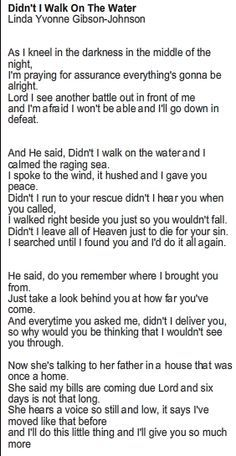 didnt i walk on the water lyrics az