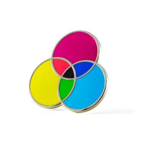 """It's all about the process - Silver pin with colored enamel - Rubber backing - Measures 1"""" tall x 1"""" wide"""