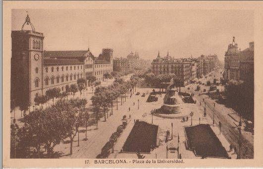 Barcelona, Spain, La plaza de la Universidad de Barcelona, - Vintage Postcard - Antique Postcard - B&W - Photo Postcard - Unused by CardsbyCollecticFind on Etsy