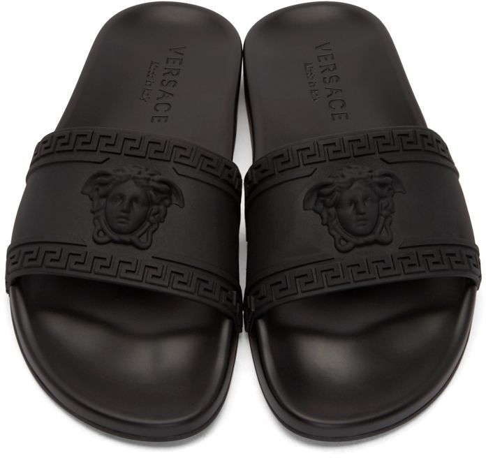 b7375dbd4 Versace  Black Medusa Slip-On Sandals