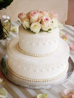 Lace and pearls wedding cake - I like this simple design for our 25th anniversary cake :)
