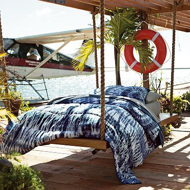 Dunes Tie-Dye Quilt + Sham, Navy -- PB Teen -- This makes me want to buy a white comforter & dye it myself!