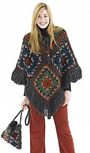Retro Look: Granny Square Poncho & Bag, plus lots of other free crochet coat patterns!