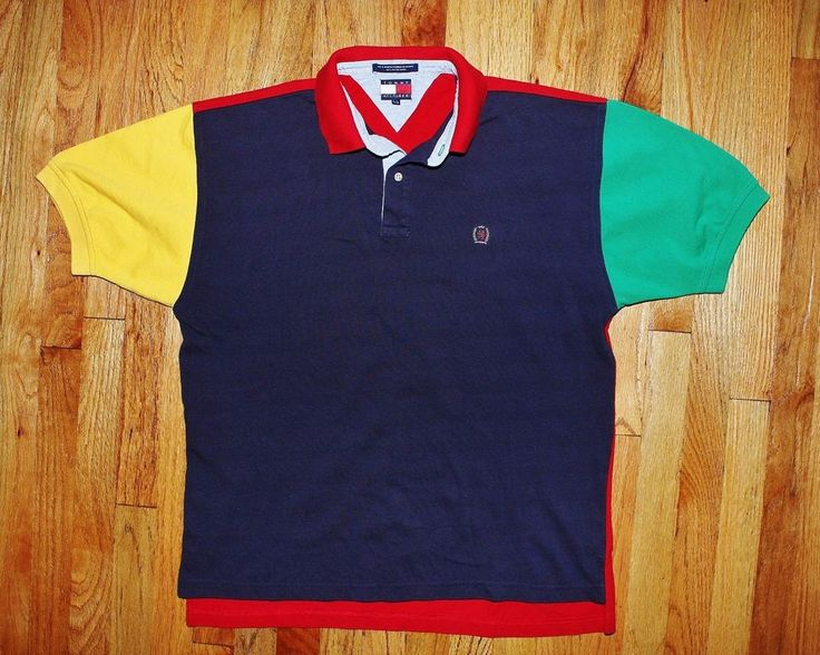 Vintage 90s tommy hilfiger primary color block short for Polo color block shirt