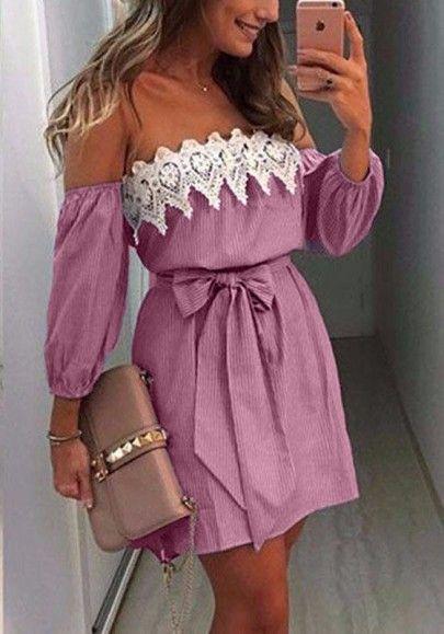 Cinturón del cordón del remiendo de color rosa Hueco-hacia fuera Borde ondulado mini vestido