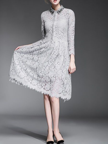 Beaded Lace Midi Dress