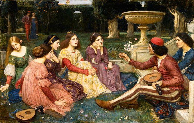ジョン・ウィリアム・ウォーターハウス《デカメロン》1916年 油彩・カンヴァス ©Courtesy National Museums Liverpool, Lady Lever Art Gallery