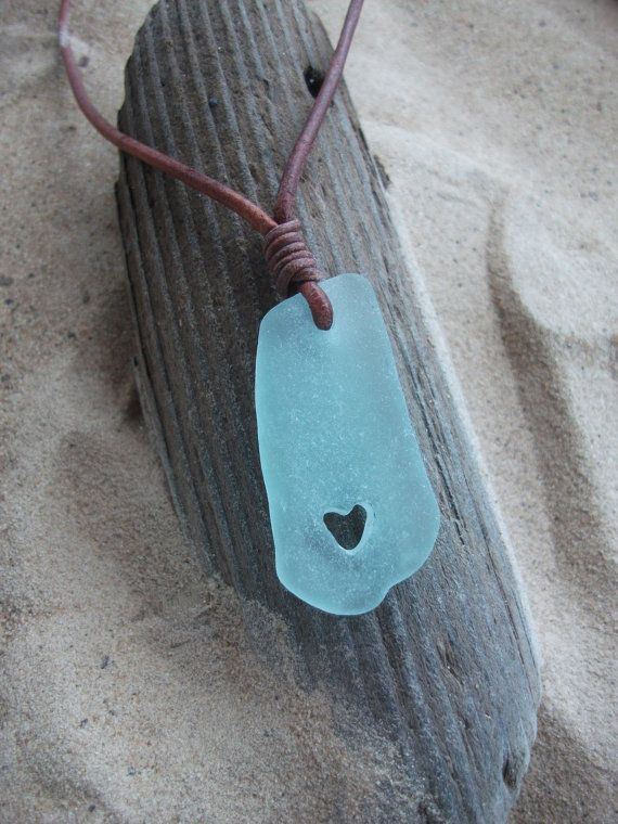 Sea glass jewelryAqua Sea Glass Carved Heart by byNaturesDesign, $16.00