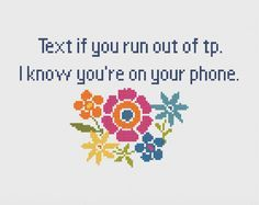 Bathroom - Cross Stitch - Funny - Modern - Sarcastic - Snarky - Cross Stitch Flower - Quick Cross Stitch - Instant Download by ImaginationAdmin on Etsy https://www.etsy.com/listing/286241969/bathroom-cross-stitch-funny-modern