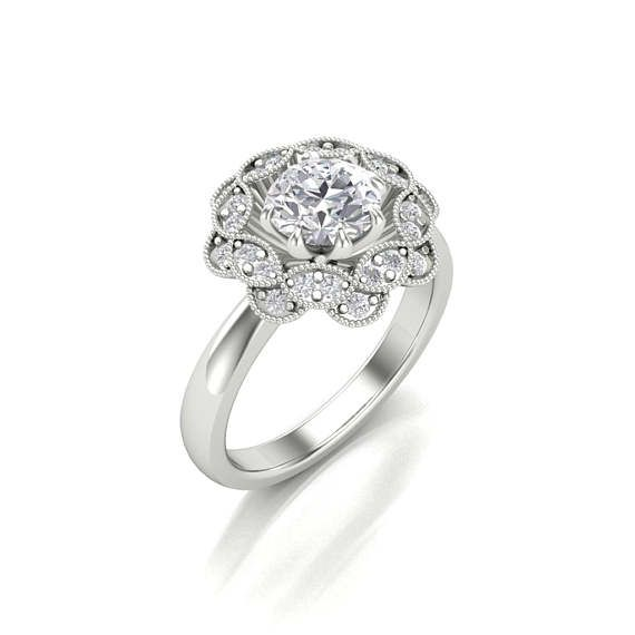 Ronda de Moissanite corte diamante Halo anillo de compromiso