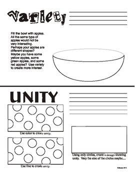 variety and unity principles of art design worksheet us art i pinterest visual arts. Black Bedroom Furniture Sets. Home Design Ideas