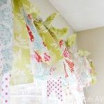 No sew fabric scrap window treatment... Such an easy way to bring