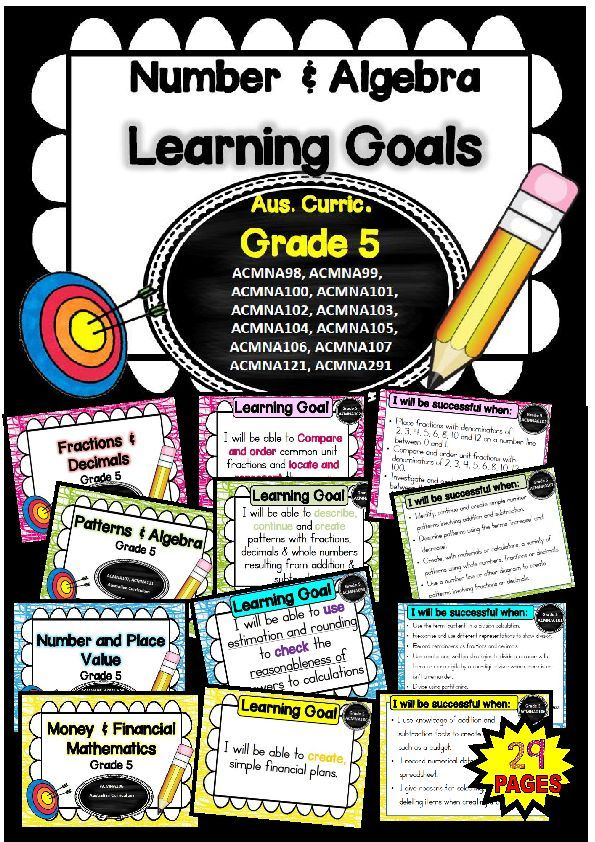 This packet has all the posters you will need to display the learning goals for grade 5 Australian Curriculum Maths – Number and Algebra. All content descriptors have been reworded into smart goals with an accompanying poster showing the success criteria needed to achieve these goals. (scheduled via http://www.tailwindapp.com?utm_source=pinterest&utm_medium=twpin&utm_content=post10821174&utm_campaign=scheduler_attribution)