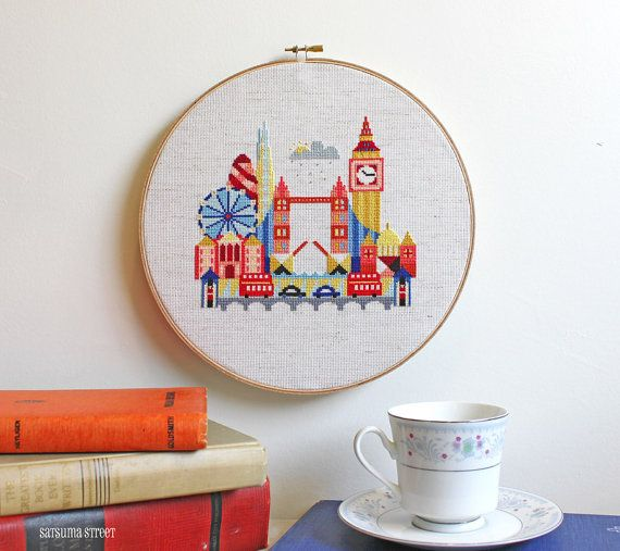 Pretty Little London - Modern Cross stitch embroidery pattern PDF - Instant download | SatsumaStreet at Etsy