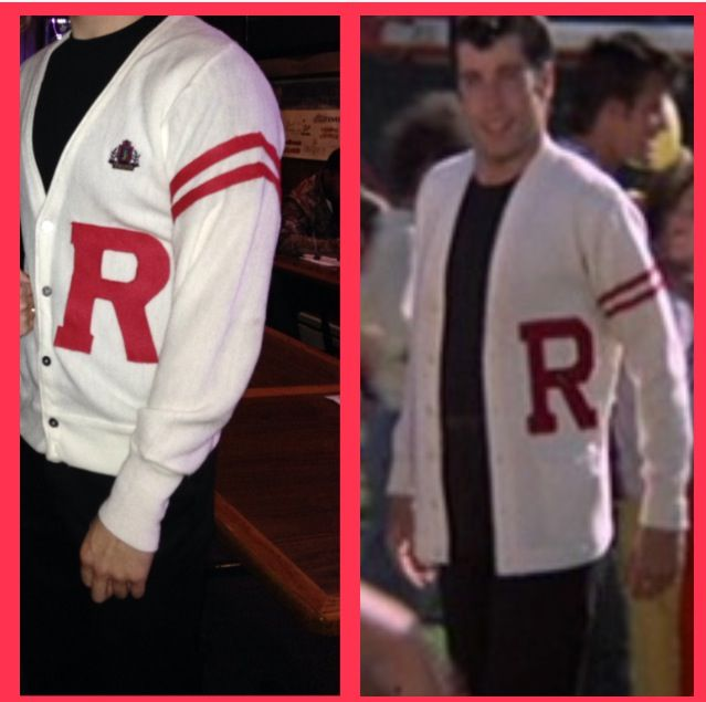 DIY Danny (from Grease the movie) Halloween costume. Sweater from final scene! Easy to make. All you need is a white cardigan , red felt, and glue! Easy no sew craft.   Cardigan- from a thrift store -$5 Red felt - from Michael's-$4
