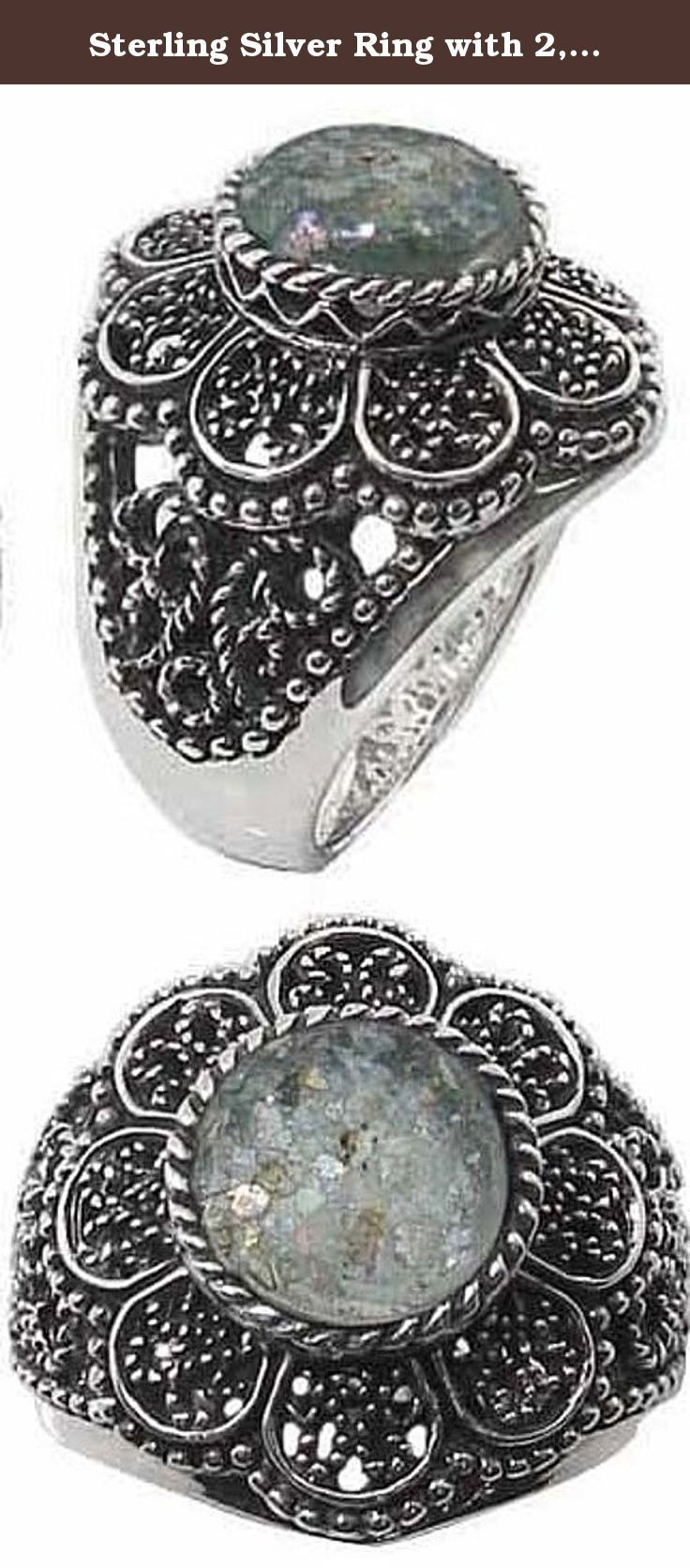 Sterling Silver Ring with 2,000 Year Old Antique Roman Glass (BTS-NRB4875/RG) - Size 9. Sterling silver Ring with 2,000 year old antique Roman Glass. Dimensions: 27.04x24.43 mm. ,RD 10.37 mm. 30 day satisfaction guarantee!.