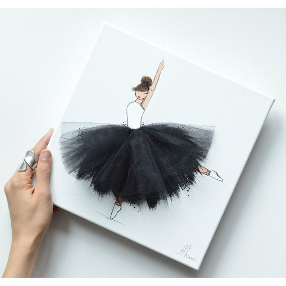 NEW Black Ballerina jumping Hand painted Canvas by ShenasiConcept