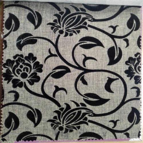 Traditional flocked fabric for sofa covers brown color flower design25