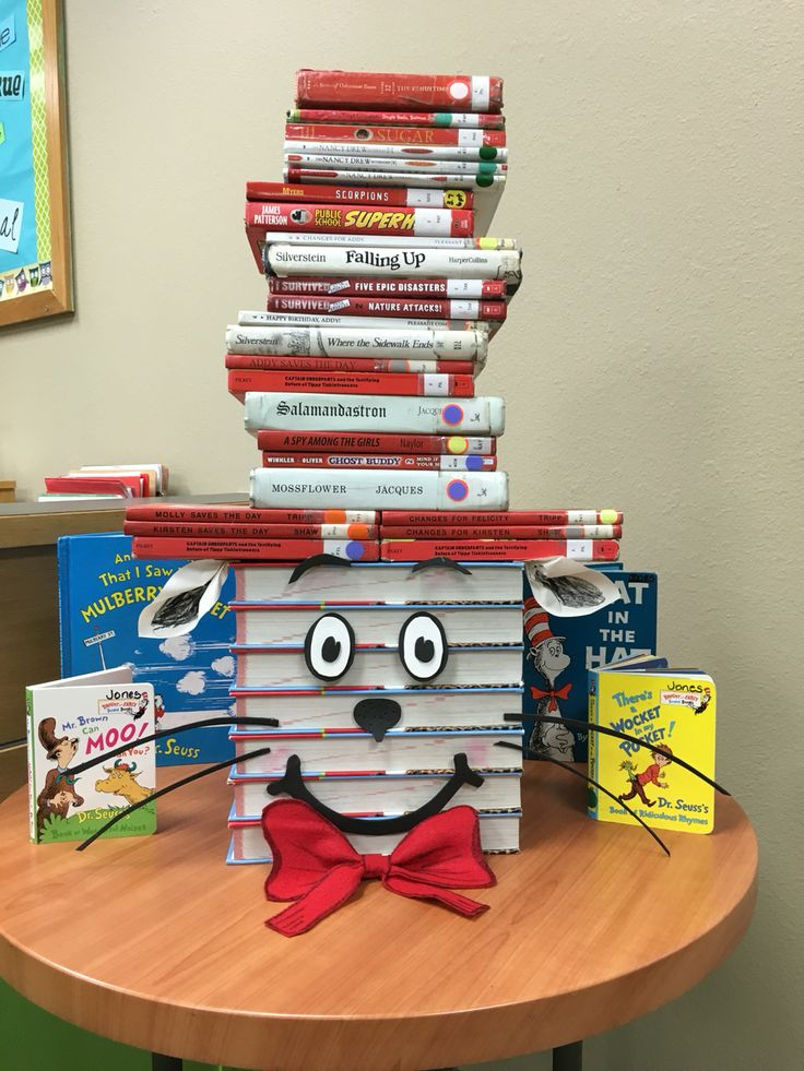Read Across America Week! Our library celebrated Dr. Seuss with this Cat in the Hat display! It was made with books, foam accents, paper ears, and a felt tie.