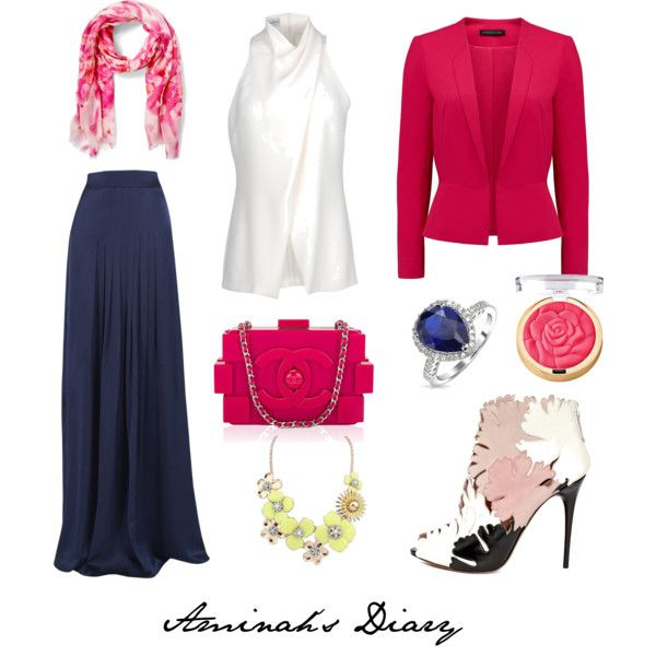 http://aminahshijabdiary.wordpress.com/ #hijab #muslimah #fashion #ootd #look #outfit #style #skirt #blue #blazer #pink #white #chanel