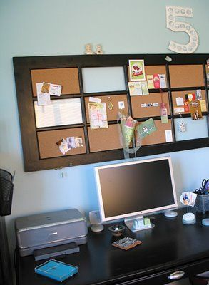 Turn window/door into cork board message center. Add some white board and pictures. Cute idea for a teen room