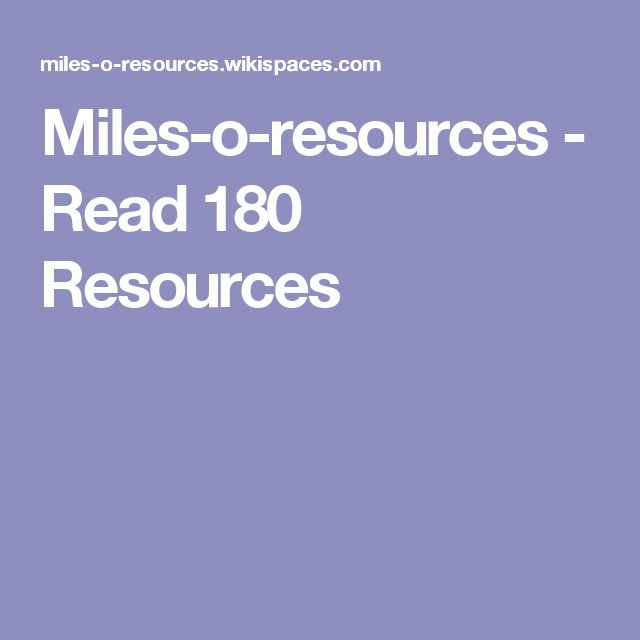 Miles-o-resources - Read 180 Resources