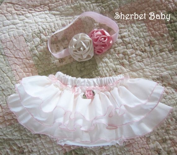 SET Headband and Sassy Pants Ruffle Diaper Cover Ivory with Pink Edges