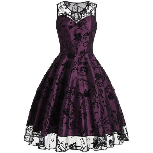 Tulle Floral Tea Length Vintage Party Dress ($22) ❤ liked on Polyvore featuring dresses, vintage cocktail dresses, purple tulle dress, purple tea length dresses, vintage dresses and floral printed dress