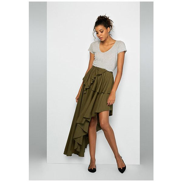 Olive Green Vicenza Skirt ($229) ❤ liked on Polyvore featuring skirts, olive, long skirts, long high low skirt, ankle length skirts, asymmetrical skirt and olive maxi skirt