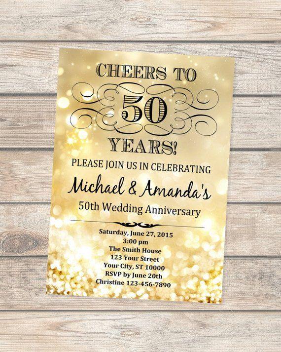 Golden Wedding Anniversary Invitation Gold Bokeh 50th Etsy Wedding Anniversary Invitations 50th Wedding Anniversary Invitations Golden Wedding Anniversary Invitations