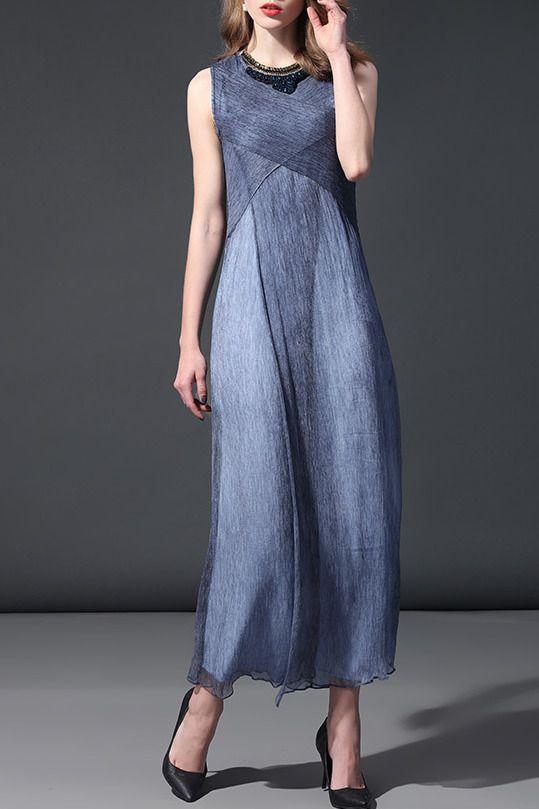 $79.99 Blue Sleeveless Silk Maxi Dress With Free Jewelry