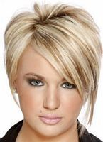 asymmetrical short hairstyle with blonde highlights