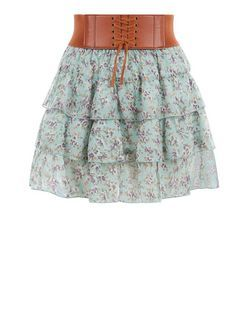 Teens Mint Green Ditsy Floral Rara Skirt | New Look