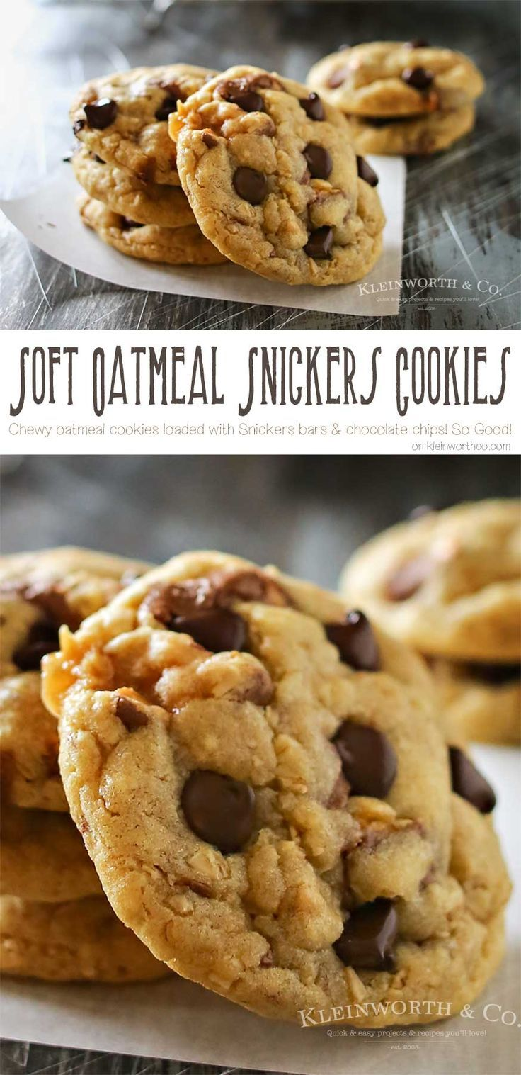 These Soft Oatmeal Snickers Cookies are a thick & chewy oatmeal cookie stuffed full of Snickers candy bars & chocolate chips. So easy & so yummy too! on kleinworthco.com