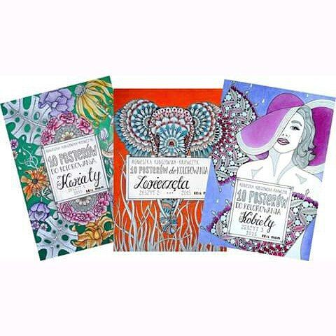 Soon for sell :) my first three colorbooks with posters! Each ones is 10 pages of posters in size A3. Happy :) #agakubish #poster #colorbook #graphic #illustration #art #artwork #linework #dotwork #design #sketch #doodle #animals #woman #flowers #sakuraofamerica #handdrawn