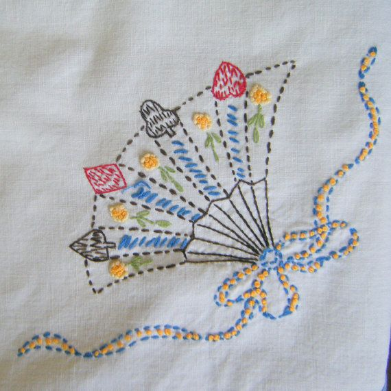 1950's Hand Embroidered Card Table Cloth Clubs by slatternhouse5,