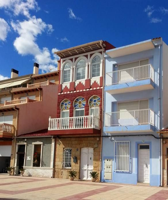Casas de marineros, paseo de la Playa del Carrer la Mar, El Campello, Alicante