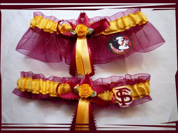 Garnet and Gold Wedding Garter Set Made with by TheArtofSports