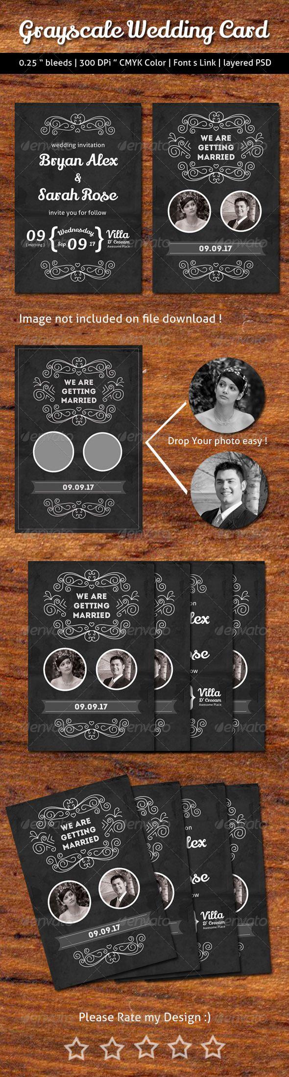 Grayscale Wedding Card