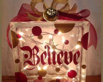 Personalized Lighted CHRISTMAS GLASS BLOCK with by PamsPolkaDots