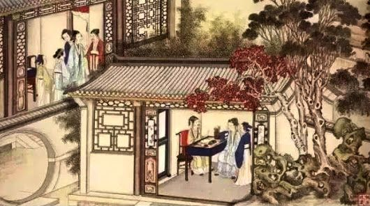 A family studio - an illustration for classic Chinese novel Dream in the Red ...