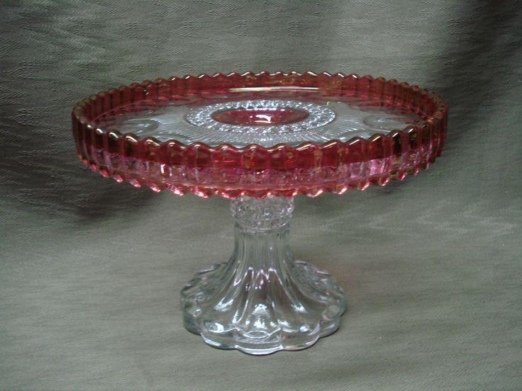 Htf us glass co manhattan kings crown cake stand pedestal