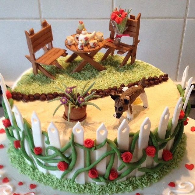 Garden inspired anniversary cake