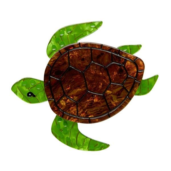 """Erstwilder Collectible Michelle Sea Turtle Brooch. """"Lend a flipper for our turtle-ly friend. She's been around for about 220 million years. That's a shell of a long time!"""""""